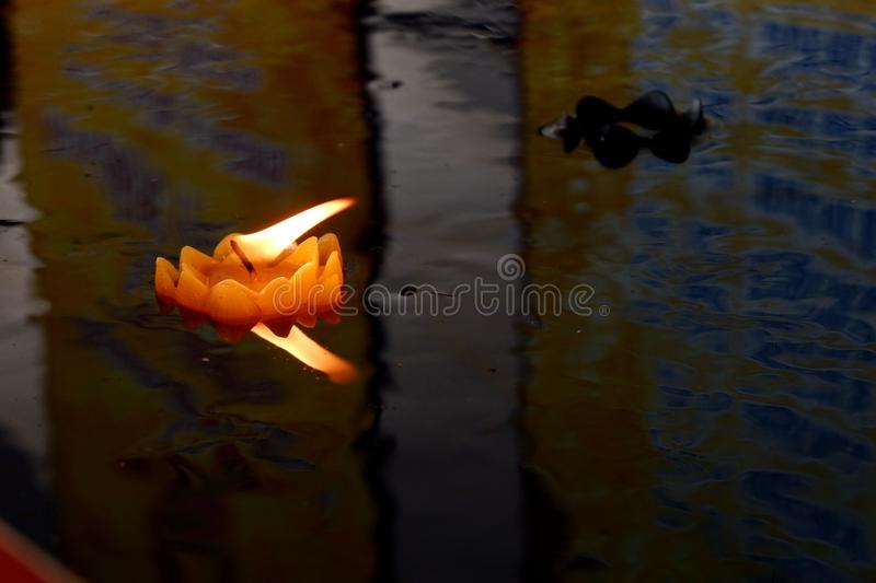 Floating candles Is the belief of Thai people. Floating candles Is the belief of Thai people stock images