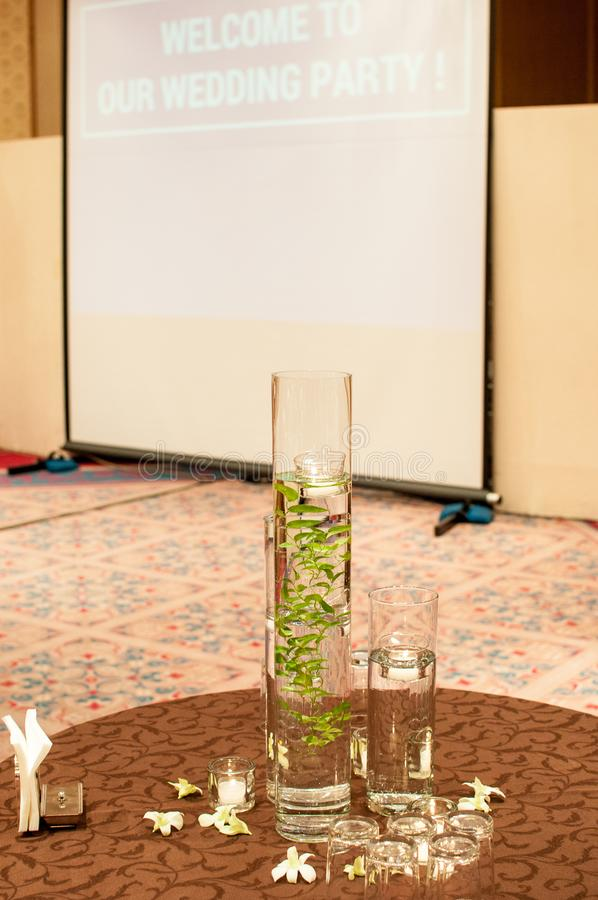 Floating candles on a table at a wedding party royalty free stock photography