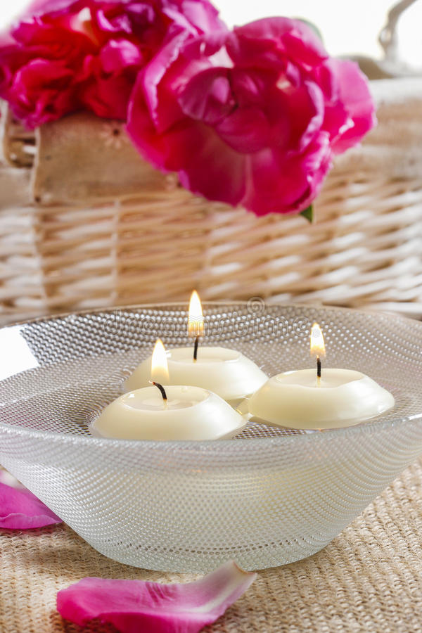Download Floating Candles In Water Among Rose Petals Stock Photo - Image: 38798276