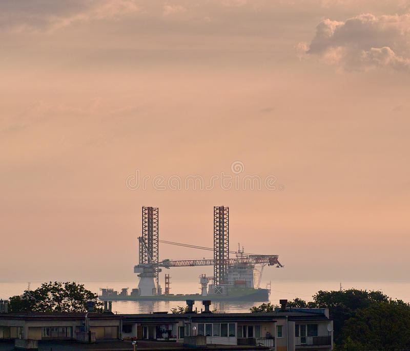 Download Floating crane. stock photo. Image of colored, cloudy - 28262864