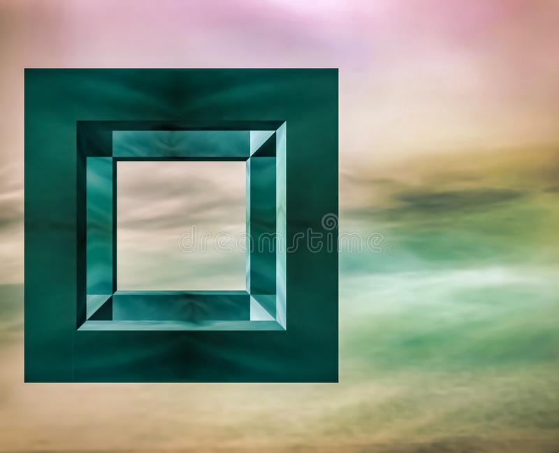 A floating cube on a long exposure background. An abstract floating cube using a long exposure as the background royalty free stock photos