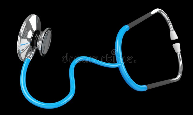 Floating digital blue stethoscope 3D rendering. Floating digital blue stethoscope on black background 3D rendering royalty free illustration