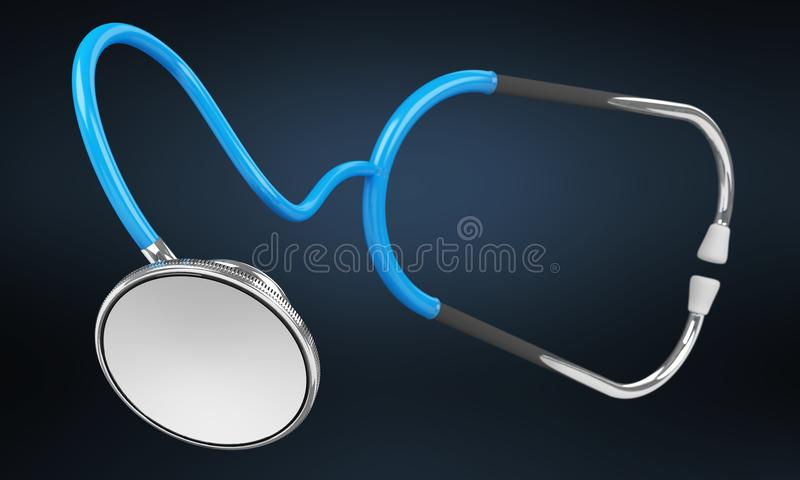 Floating digital blue stethoscope 3D rendering. Floating digital blue stethoscope on blue background 3D rendering vector illustration