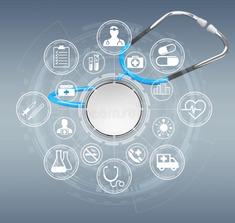 Floating digital blue stethoscope 3D rendering. Floating digital blue stethoscope on grey background 3D rendering vector illustration