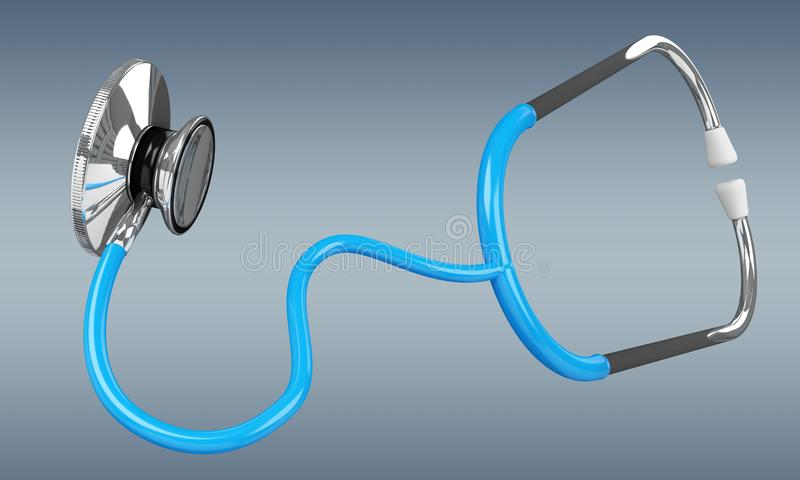 Floating digital blue stethoscope 3D rendering. Floating digital blue stethoscope on grey background 3D rendering royalty free illustration