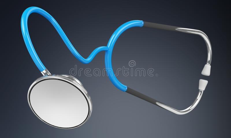 Floating digital blue stethoscope 3D rendering. Floating digital blue stethoscope on grey background 3D rendering stock illustration