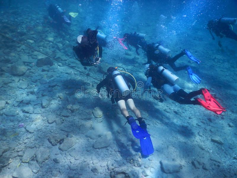 Floating divers in the Red Sea, gulf of Eilat, Israel. Eilat, Israel - october 17: floating divers in the gulf of Eilat, Red Sea on october 17, 2017 in Eilat stock photo