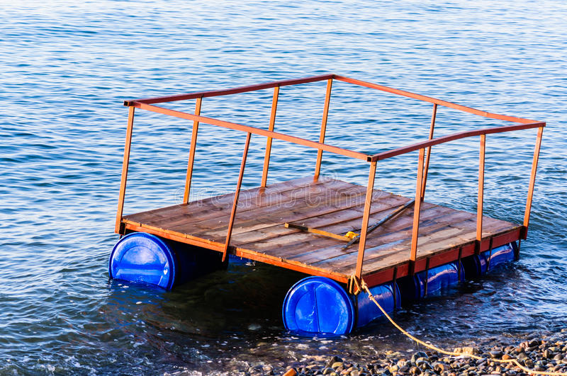 Floating Dock For Construction Purposes. A small floating dock on the shoreline of the Marmara sea for piled dock construction purposes royalty free stock photos