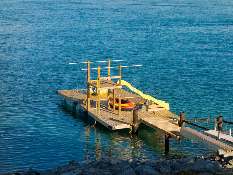 A floating dock on lake superior royalty free stock image