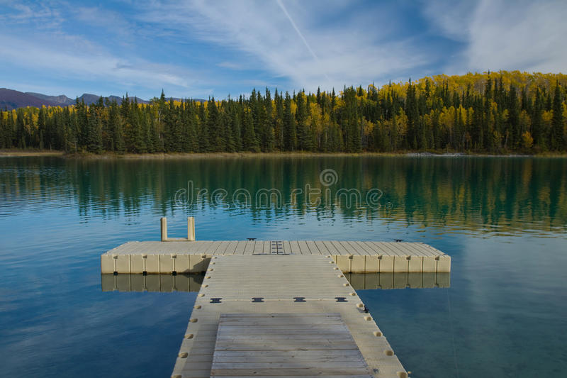 Floating dock at pristine Boya Lake Provincial Park, BC. Floating dock at pristine Boya Lake Provincial Park, along the Cassiar Highway, British Columbia royalty free stock images