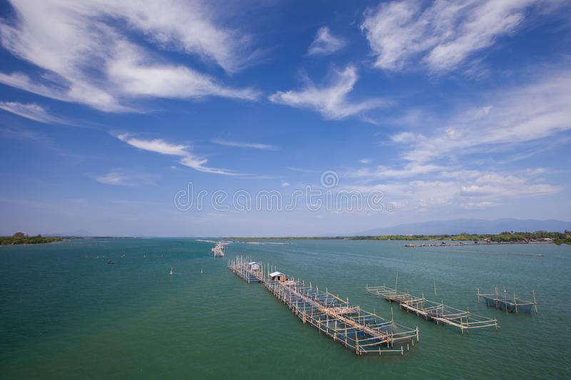 A Floating fish farm in sea under clear sky royalty free stock photography