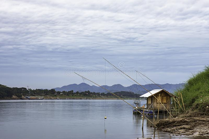 The Floating Fishing and sky on the Mekong River at Loei in Thailand.  royalty free stock photography