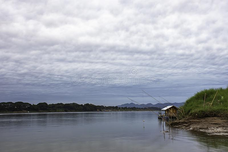 The Floating Fishing and sky on the Mekong River at Loei in Thailand.  stock images