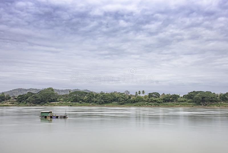 The Floating Fishing and sky on the Mekong River at Loei in Thailand.  royalty free stock photos