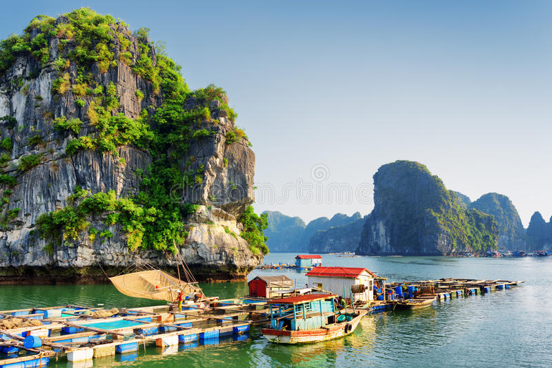 Floating fishing village, the Ha Long Bay, Vietnam stock image