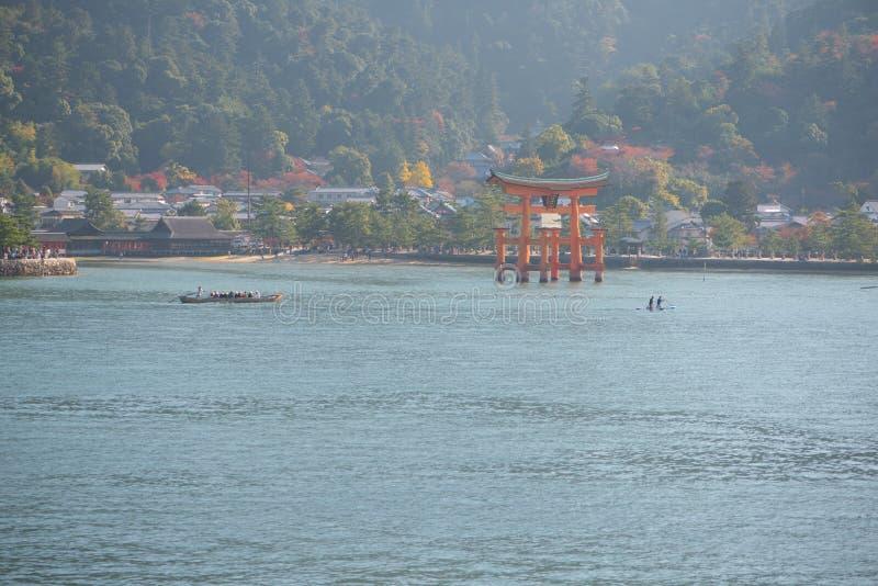 Floating gate of Itsukushima Shrine at Miyajima island. Hiroshima, Japan royalty free stock photo