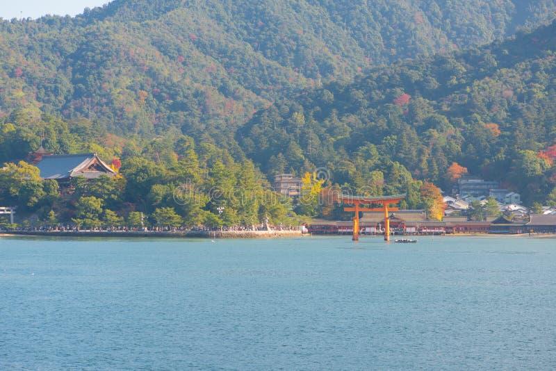 Floating gate of Itsukushima Shrine at Miyajima island. Hiroshima, Japan royalty free stock image