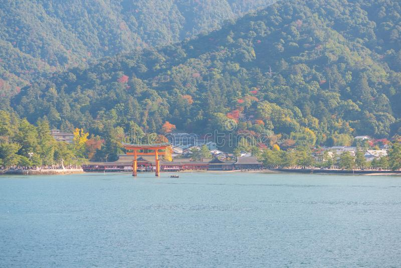 Floating gate of Itsukushima Shrine at Miyajima island. Hiroshima, Japan stock photo