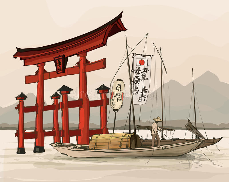 Floating gate of Itsukushima Shrine stock illustration