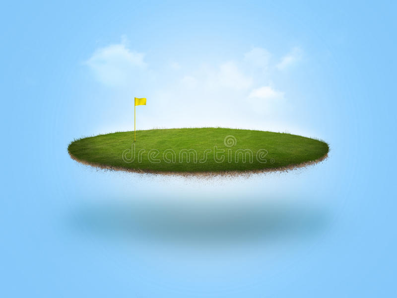 Floating Golf Green. A golf green floating in the air on blue background royalty free illustration