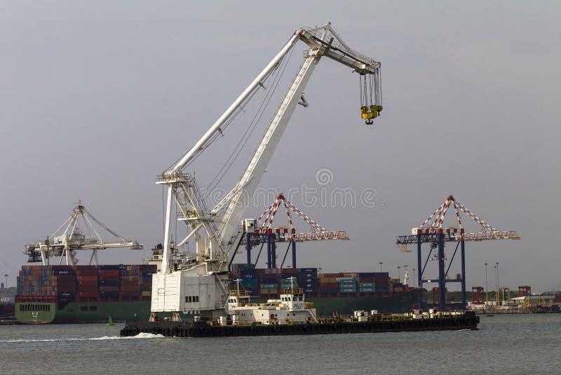 Harbor Barge Floating Crane Editorial Photo