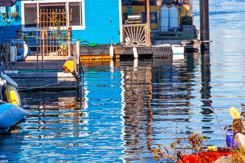 Floating Home Village Houseboats Reflection Inner Harbor Victoria Canada. Floating Home Village Blue Houseboats Reflection Inner Harbor, Victoria Vancouver stock photography