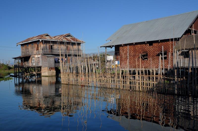 Floating House 02-Inle Lake Myanmar. While on the cruise you will visit the floating house in the Inle Lake at Myanmar stock image