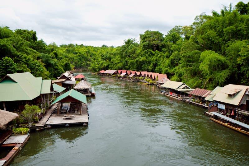 Floating house across Khwae river stock images