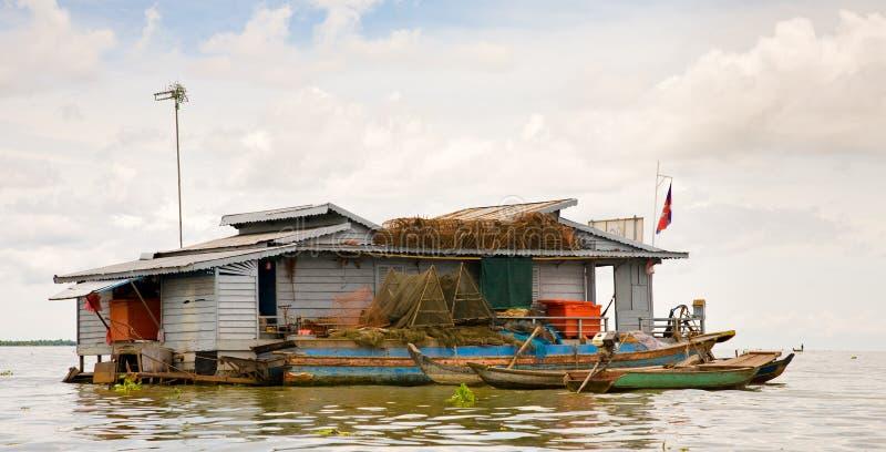 Floating house, Cambodia royalty free stock photo