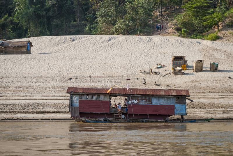 Floating house at Mekong river stock photos