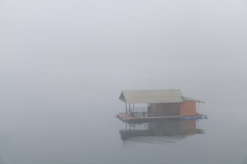 Floating house on the river with clouds in the morning, relax ti. Me on the holiday royalty free stock image