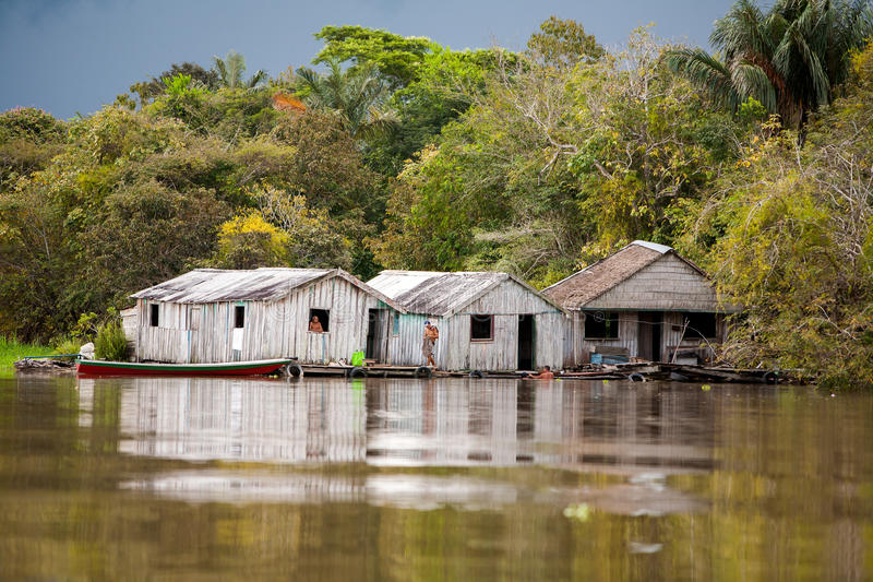 Floating houses in amazon river. Manaus - Brazil royalty free stock photography