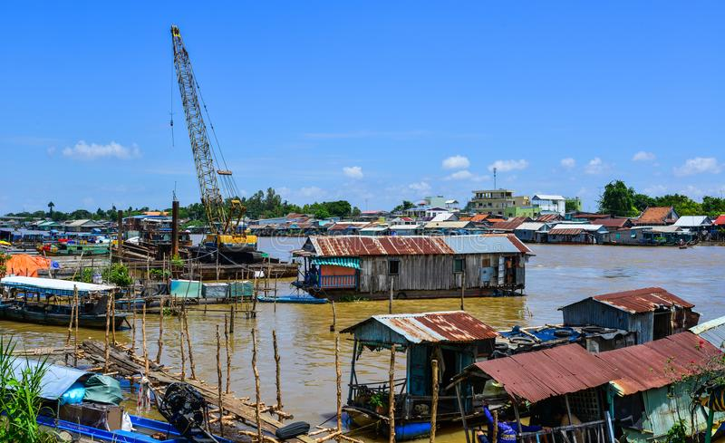 Floating houses in Chau Doc, Vietnam royalty free stock photo