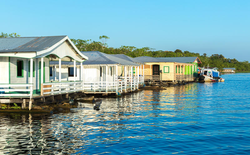 Floating houses in Manaus, Amazon, Brazil.  royalty free stock photography