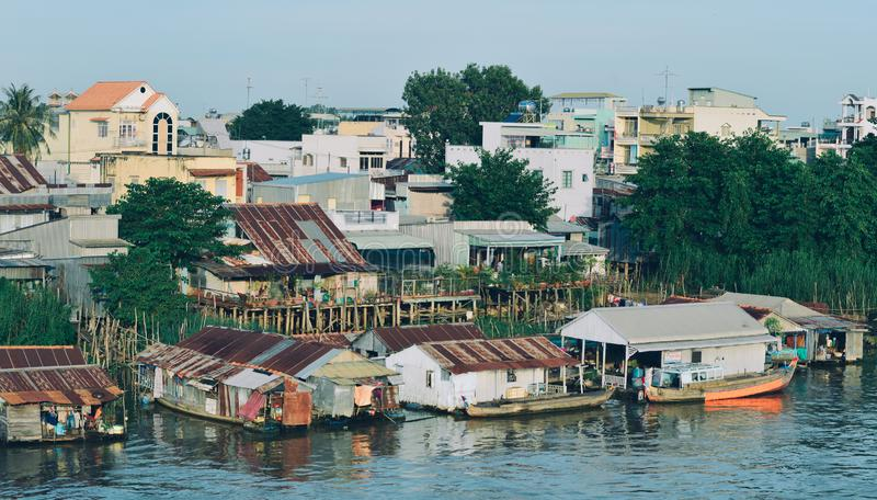 Floating houses on Mekong River stock photos