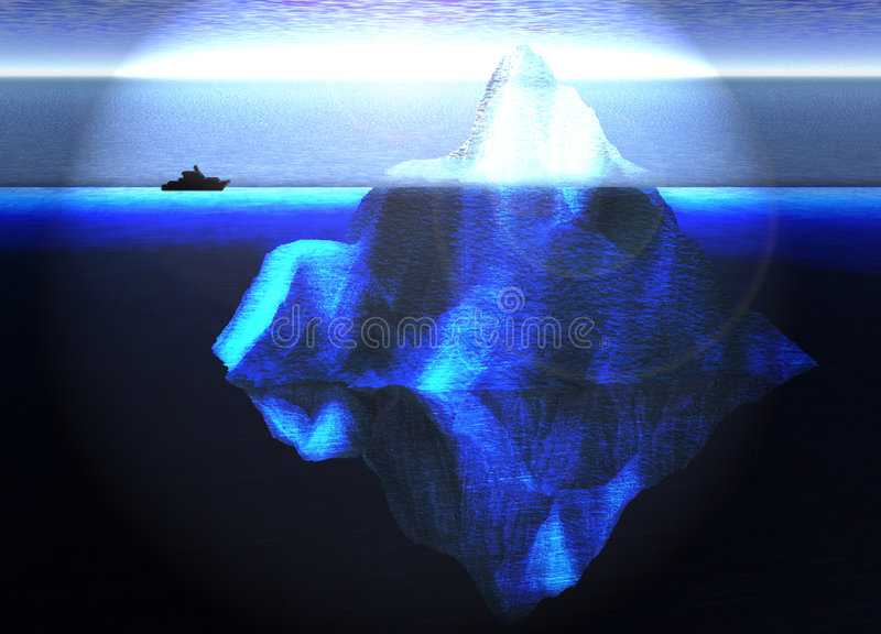 Floating Iceberg in Ocean with Small Boat