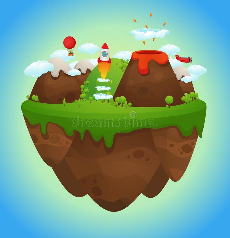 Floating island. Cartoon Illustration of Floating island vector illustration