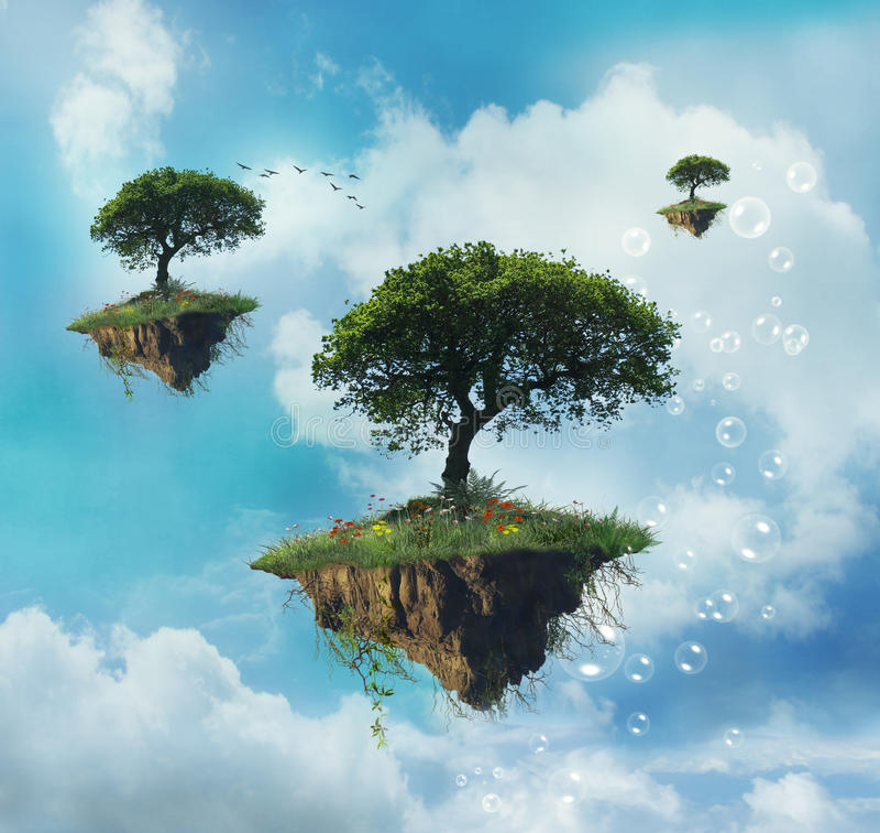 Floating island vector illustration
