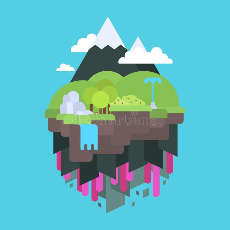 Floating island in the air, flat design royalty free illustration