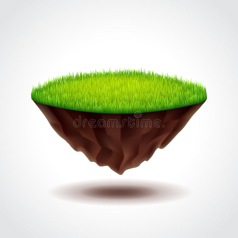 Floating island with green grass vector. Floating island with green grass photo realistic vector illustration stock illustration