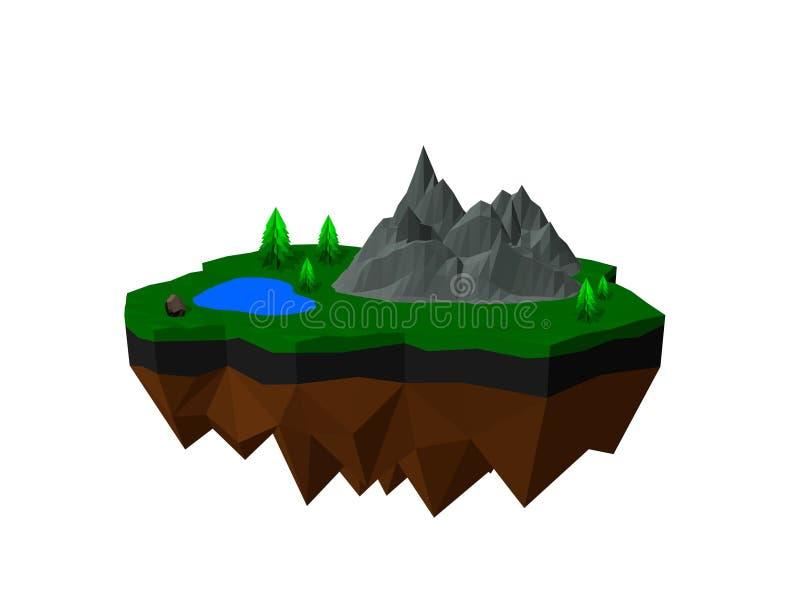 Floating island. Isolated on white background. 3D vector illustration. Floating island. Isolated on white background. 3D low poly vector illustration stock illustration