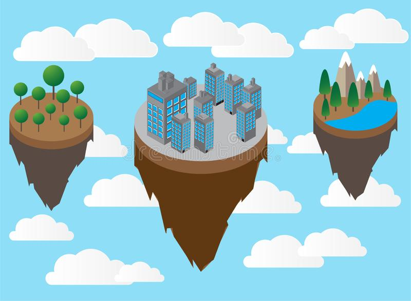 Floating island with mountain and meadow, and condominium in the sky vector royalty free stock photos