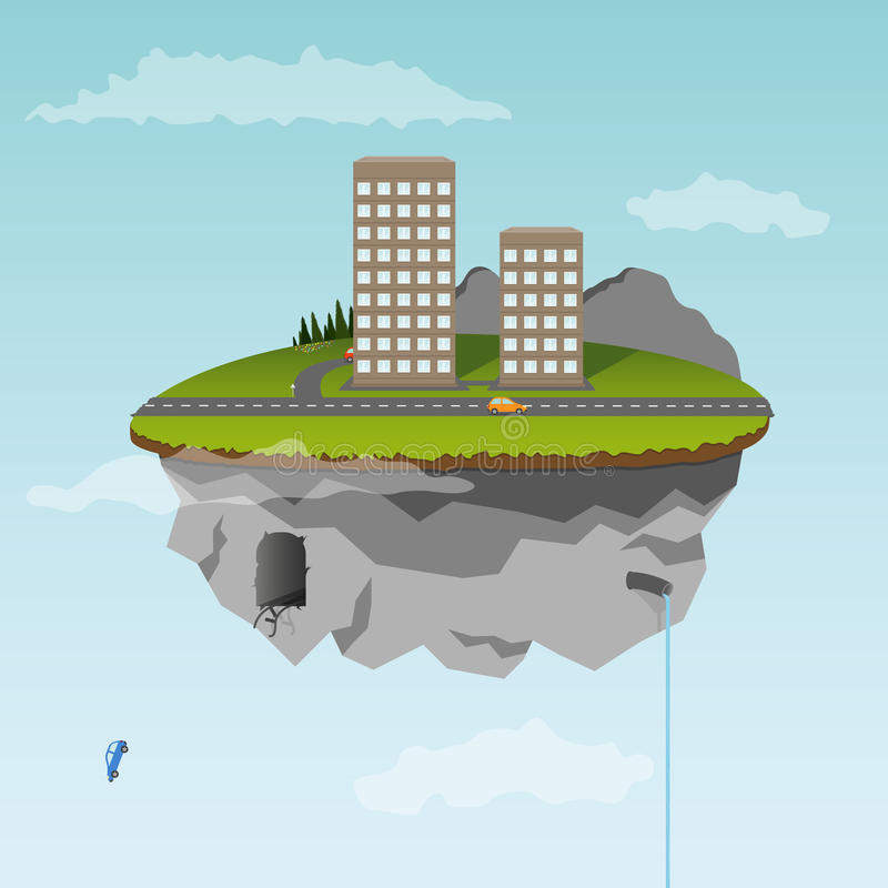 Download Floating Island With Part Of City Stock Photography - Image: 21403282