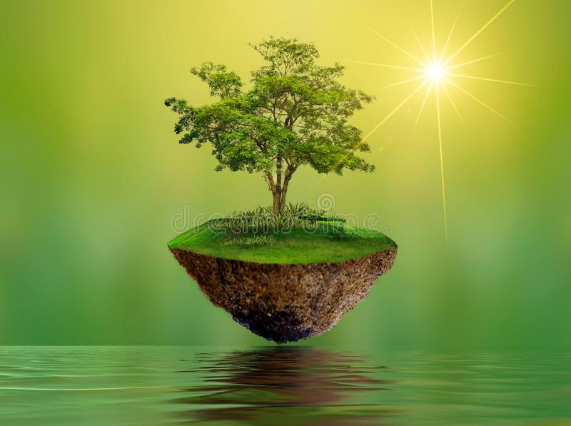Floating islands with trees Lake river in the sky World Environment Day World Conservation Day environment royalty free stock photo