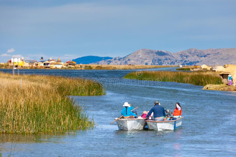 Floating islands of Uros, Lake Titicaca, Peru, South America - 2019-12-01. Two boats with people go along the canal. royalty free stock image