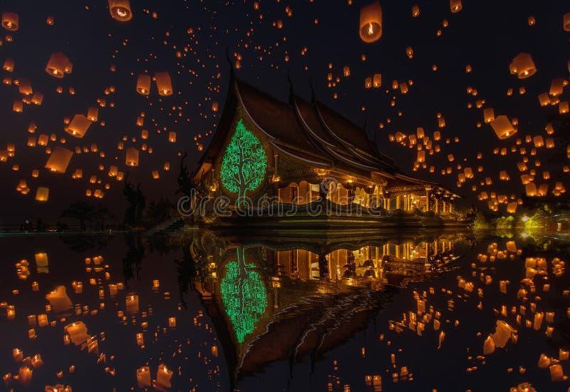 Floating lamp in yee peng festival at pagoda tree glow temple Wat Sirindhorn Wararam, Sirindhorn District, Ubon Ratchathani. Thailand stock images