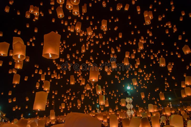 Floating lanterns or Balloon on the sky background. stock images