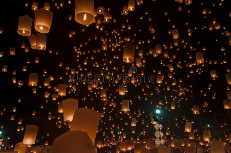 Floating lanterns or Balloon on the sky background. royalty free stock image