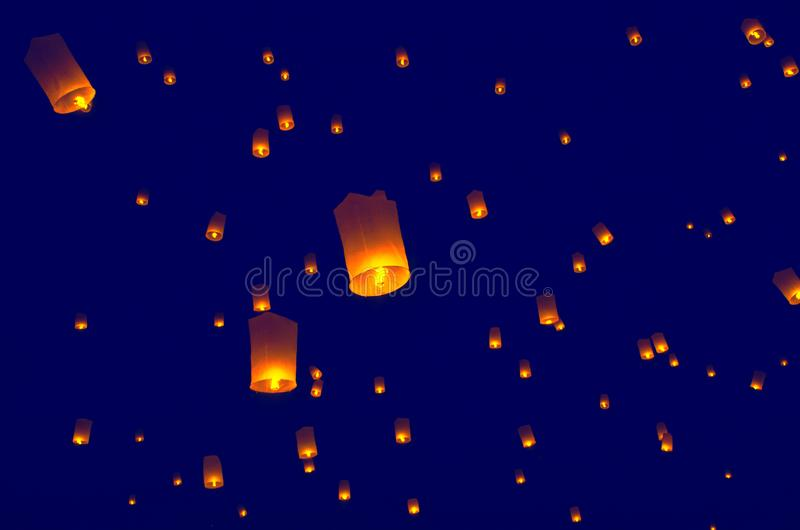 Floating lanterns or Balloon on the sky background. stock photos
