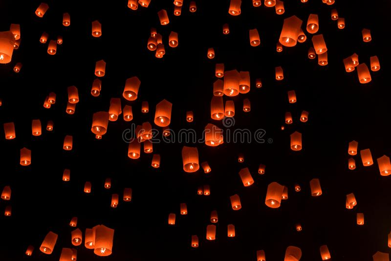 Floating lanterns or Balloon on the sky background. royalty free stock photo